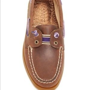 Brown and purple leather boat shoes from sperry